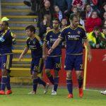 Jugadores Maribor celebran gol