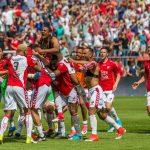 Jugadores Utrecht celebran Europa League