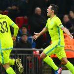 Jugadores Gent celebran gol