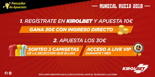 ¡PROMOCIÓN EXCLUSIVA! Te regalamos 30€ en Kirolbet con la promoción «PensadorMundial»
