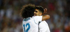 marcelo y asensio celebrando un gol con el real madrid