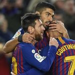 messi luis suarez coutinho celebran un gol del barcelona