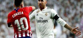 Correa y Sergio Ramos en el derbi madrileño